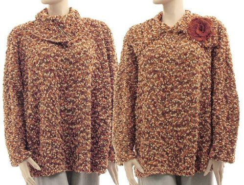 Fall winter sweater with large collar, merino wool in brown shades M-L