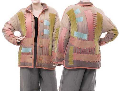 Lagenlook boho jacket patchwork, hand dyed cotton many coloured S-M