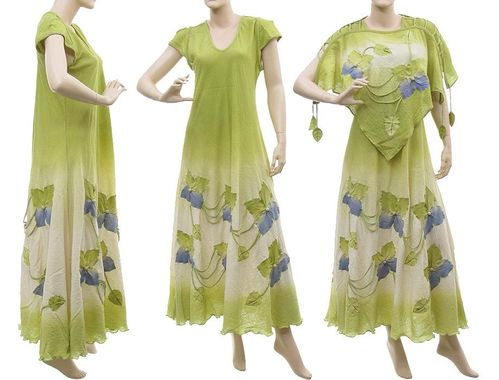 Boho flower dress with top, crinkle cotton in green S-L