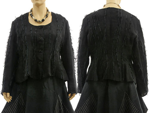 Boho linen jacket with embroidered stripes, in black XL-XXL