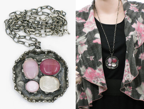 Lagenlook handmade necklace - 4 stones