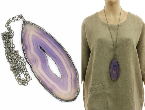 Lagenlook handmade necklace - very large agate
