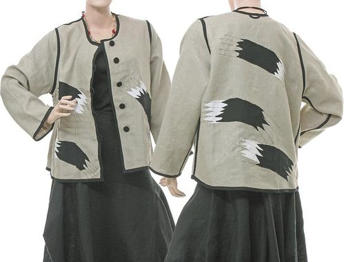 Lagenlook artsy jacket painted brush strokes appliqués, linen nature M
