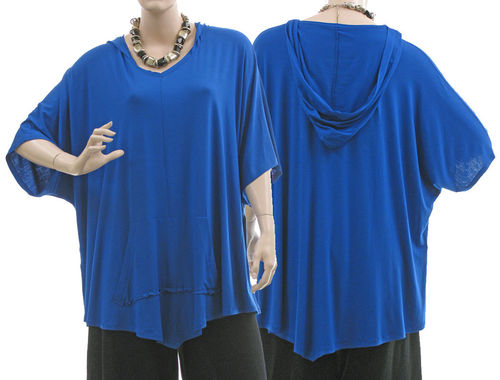 Lagenlook beautiful hooded jersey tunic in cobalt blue M-XXL