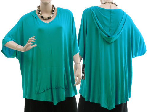 Lagenlook beautiful hooded jersey tunic in turquoise M-XXL