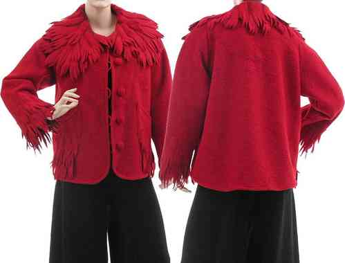Lagenlook artsy boho jacket / coat boiled wool red M-L