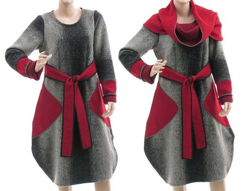 Artsy balloon dress separate turtleneck, boiled wool in grey red S-M