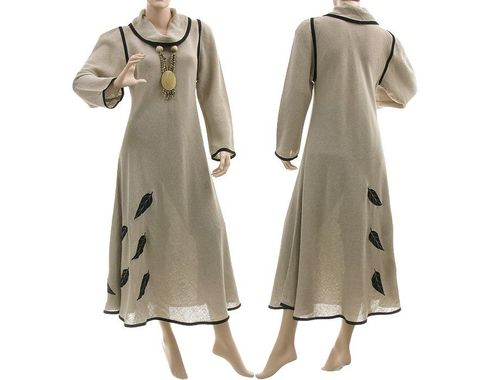 Lagenlook turtleneck dress with leaves, linen in nature S-M