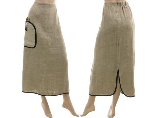 Lagenlook long skirt with huge pocket, linen in nature XXL