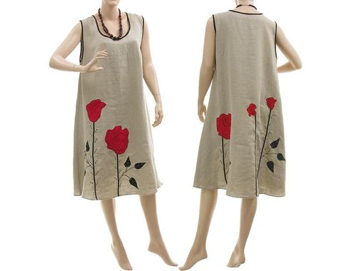 Lagenlook boho flared dress with roses, linen in nature M-L