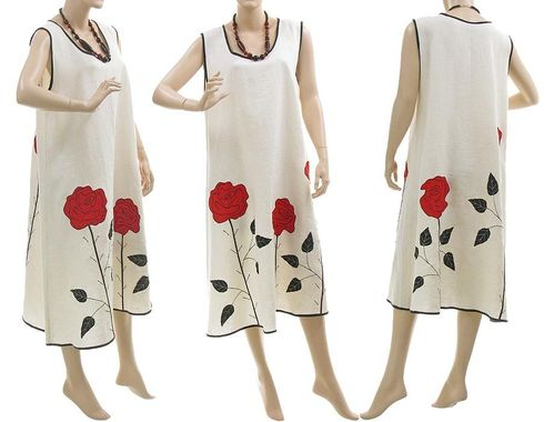 Lagenlook boho flared dress with roses, linen in white M-L
