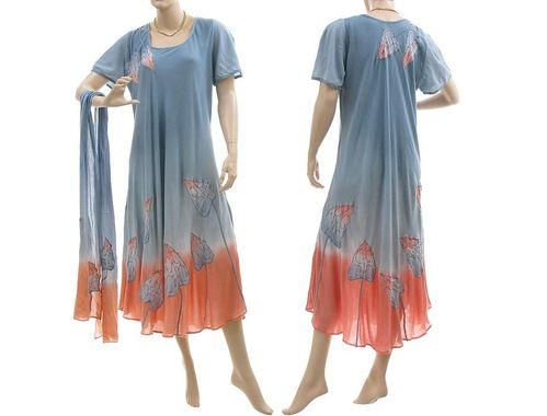 Boho flower dress with scarf, viscose blue apricot M-L