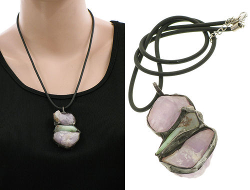 Lagenlook unique handmade necklace - chrysoprase, amethysts