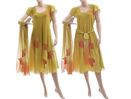 Boho flower dress with scarf + tie belt, cotton yellow green M-L