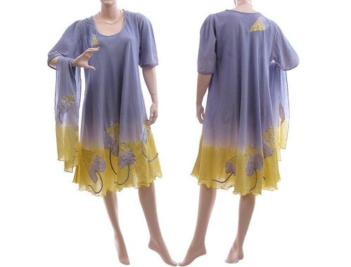 Boho flower dress with scarf, crinkle cotton in lilac yellow L-XL