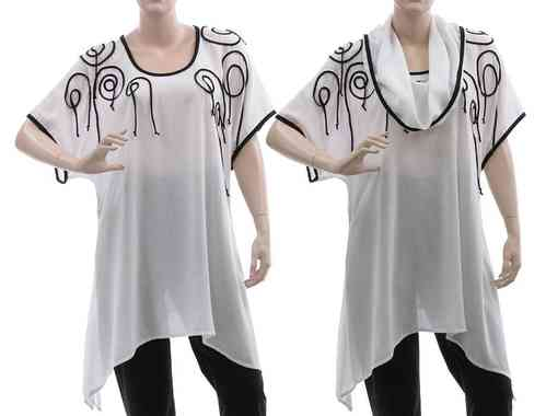 Lagenlook flared tunic with separate hood, viskose white L-XL