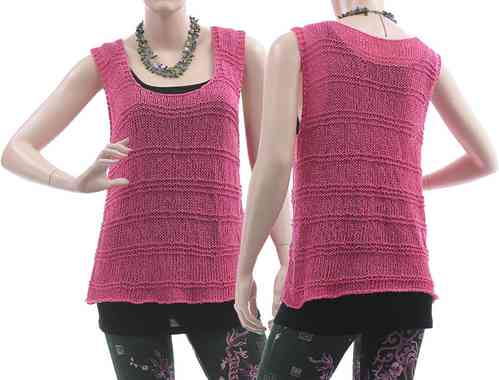 Lagenlook hand knitted tank top Julitta, cotton mix in pink S-M