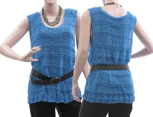 Lagenlook hand knitted tank top Jean, cotton mix in blue M-L