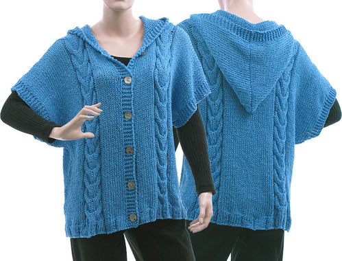Lagenlook hand knitted hoodie, cabled cardi Tilda in blue S-L