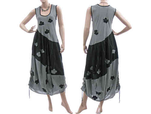 Artsy boho balloon dress with flowers crinkle cotton in grey black S-M