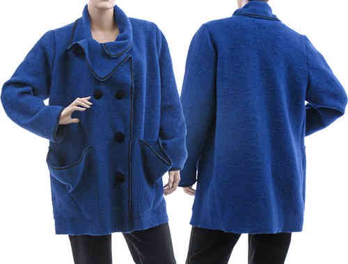 Lagenlook jacket / coat boiled wool in cobalt blue M-L