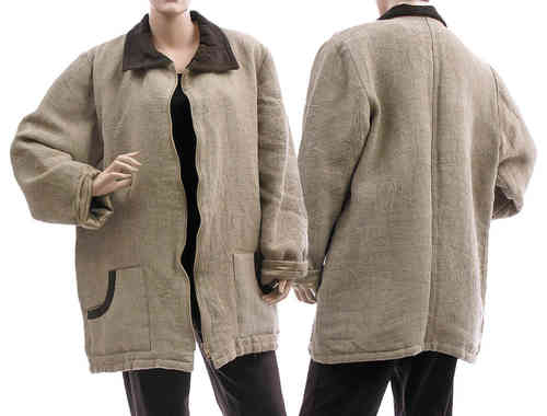 Lagenlook jacket with zipper, eco linen in natural M-L