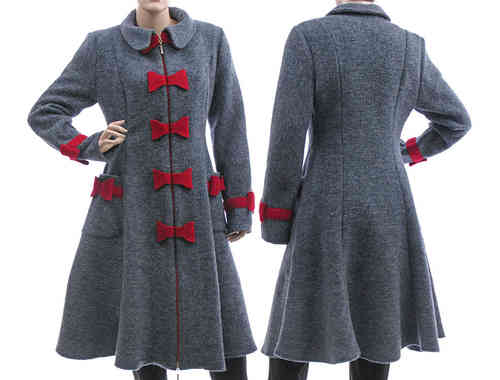 Artsy bell shaped coat boiled wool with bows, blue-grey S-M