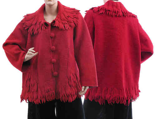 Lagenlook artsy boho jacket / coat boiled wool red L-XL