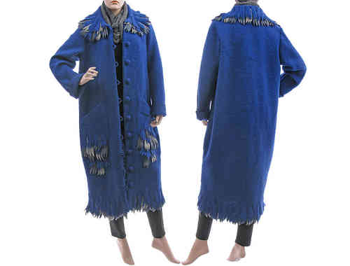 Lagenlook long artsy coat boiled wool in cobalt blue M-L