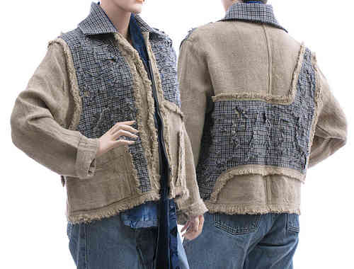 Boho jacket in used look, linen with wool, natural blue M-L