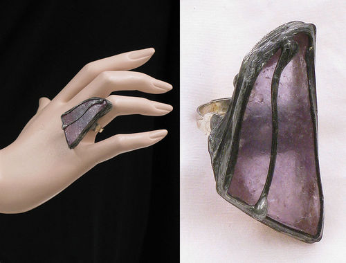 Lagenlook unique handmade ring - a large amethyst