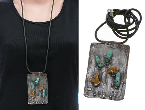 Lagenlook unique handmade necklace - ambers, amazonites