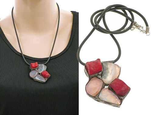 Lagenlook unique handmade necklace - agates, corals