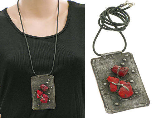 Lagenlook unique handmade necklace - corals red