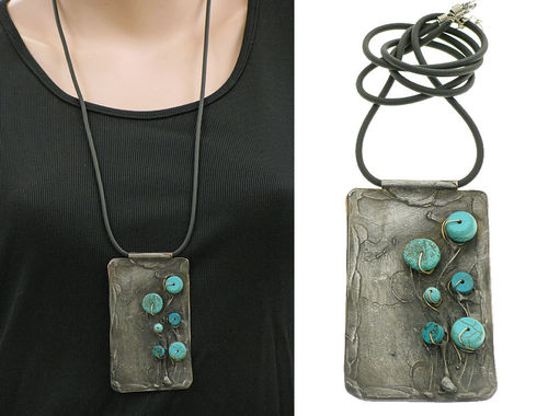 Lagenlook unique handmade necklace - turquoises