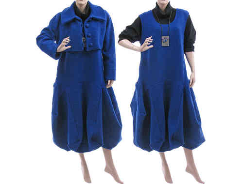 Lagenlook balloon dress + bolero, boiled wool cobalt blue L-XL