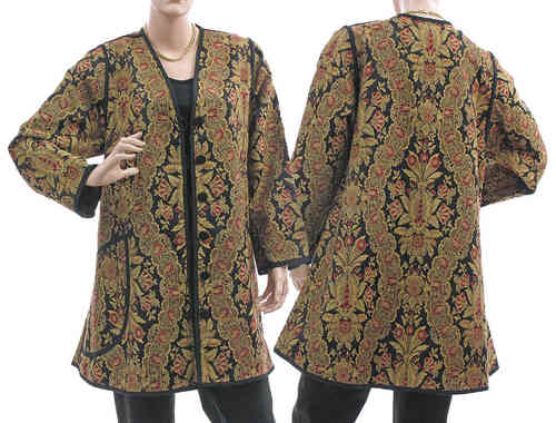 Evening jacket jacquard fabric, silk cotton mix black beige red M-L