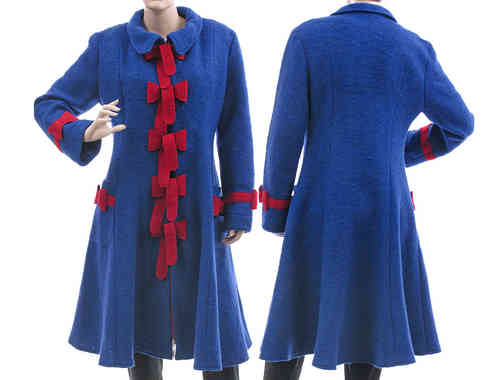 Artsy bell shaped coat boiled wool with bows, cobalt blue M-L