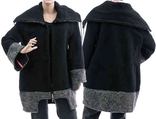 Cozy jacket with large collar, boiled wool in black M-L
