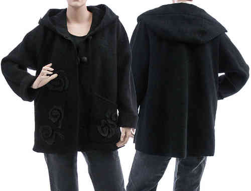 Boho lagenlook hooded jacket, boiled wool in black L