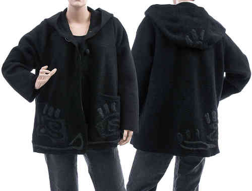 Boho lagenlook hooded jacket, boiled wool black M-L