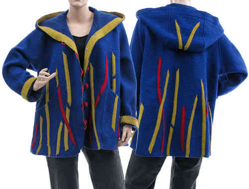 Boho lagenlook hooded  jacket, boiled wool cobalt blue L-XL