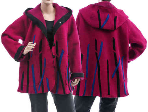 Boho lagenlook hooded jacket, boiled wool magenta L-XL