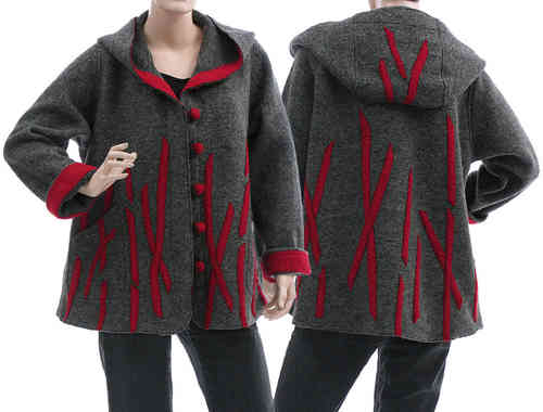 Boho lagenlook hooded jacket, boiled wool grey red L
