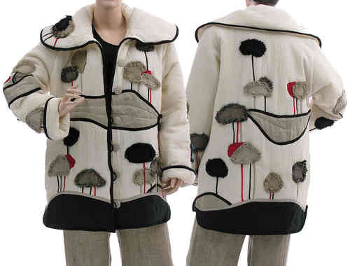 Amazing boho artsy landscape jacket, cotton in off white M-L