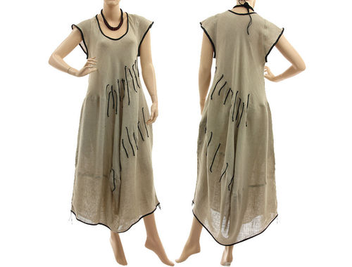 Lagenlook boho linen balloon dress in nature with black L-XL
