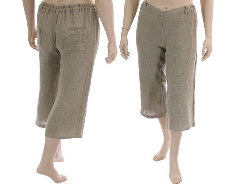 Lagenlook casual pants 7/8 length, linen in nature L-XL