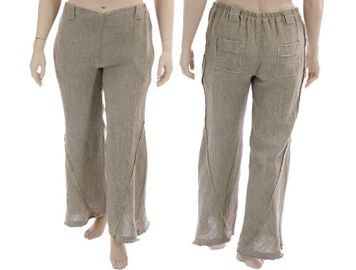 Lagenlook long flared pants for tall women, linen in nature L-XL