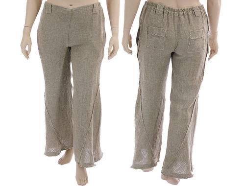 Lagenlook flared boho pants with side pockets, linen in nature L-XL