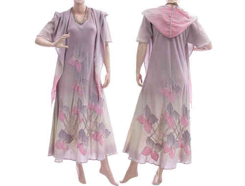 Boho flower dress with hood, crinkle cotton in pastel lilac S-M